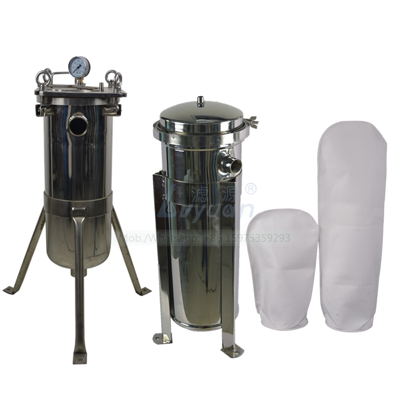 Clamp bag filter type thread connection ss304 filter housing with 5 micron polypropylene PP bag filter 7x 32 inch