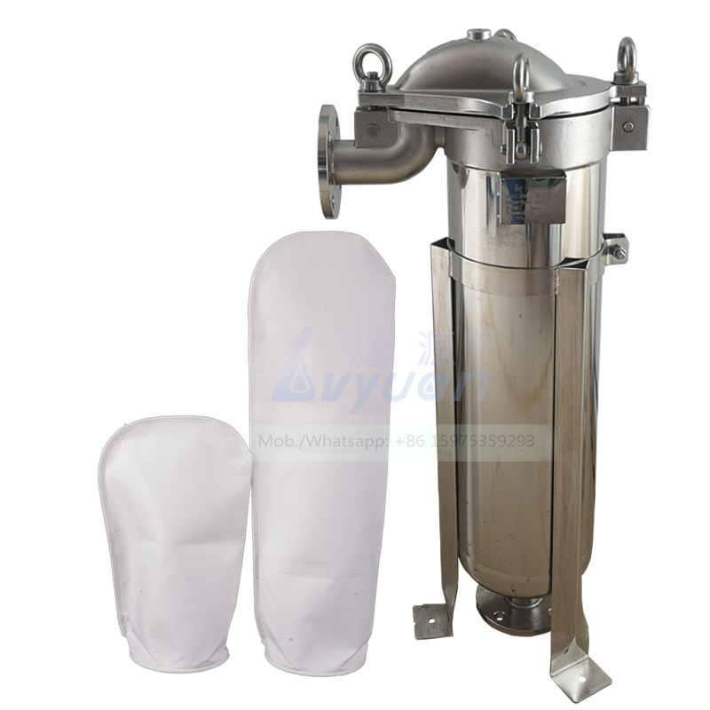 PE bag 1um single filter element SS304 316L media stainless steel flange filter housing with 1/1.5/2 inch in & out connection