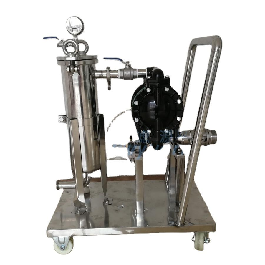 1/2/3/4/5 Stages Water Liquid Beer filtering machine Stainless Steel bag Filter system with diaphragm pump