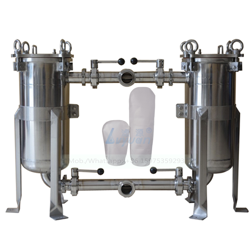 Top entry 2 inch stainless steel SS 304 316L washable PP bag filter duplex bag water filter system for water treatment plant