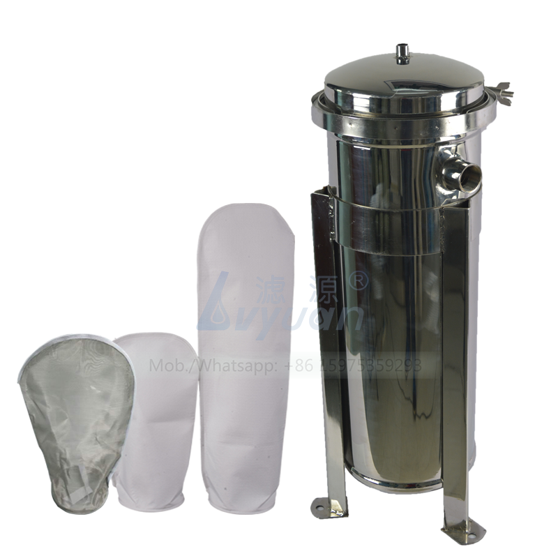 Tri clamp connector SS 304 single stage industrial bag filter housing with PP/PE plastic rings bag filter 5 microns