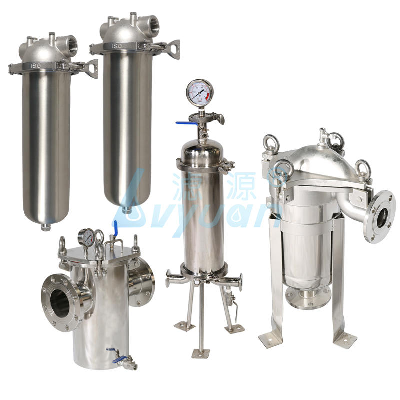 Top-in bottom-out flange liquid/milk/wine stainless steel SS304 316L wate filter bag liquid housing
