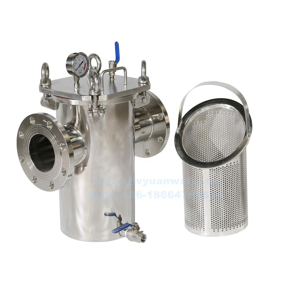 High Flow Industrial Flange/Bolt Quick Open Pipeline Stainless Steel Basket Strainer with wire mesh filter bucket