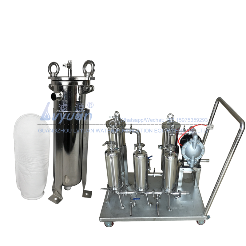 Reusable 5 micron small PP/PE bag filter SS304 stainless steel single housing with stainless/aluminium water pump set