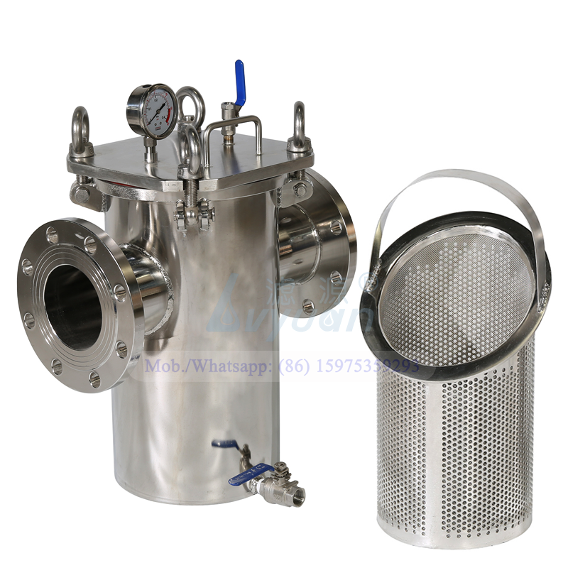 DN50 DN80 flange connection stainless steel SS304 316L single basket handle water filter housing for pre sediment filtration