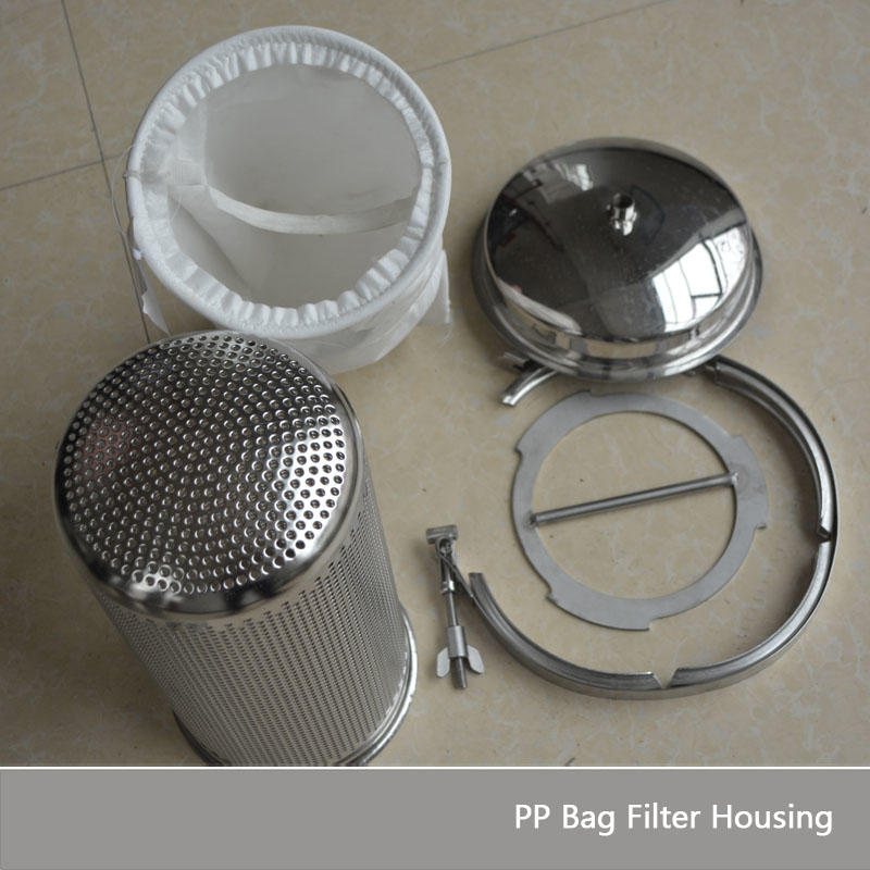 Water purification 5 micron filter SS304 316L aqua bag filter housing with single PP PE Nylon bag steel filter (18x32 inch)