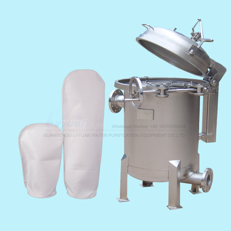 Water oil treatment SUS304 316L stainless steel 5 bag filter housing with 7x32 inch PP PE bag wate filter element 20 microns