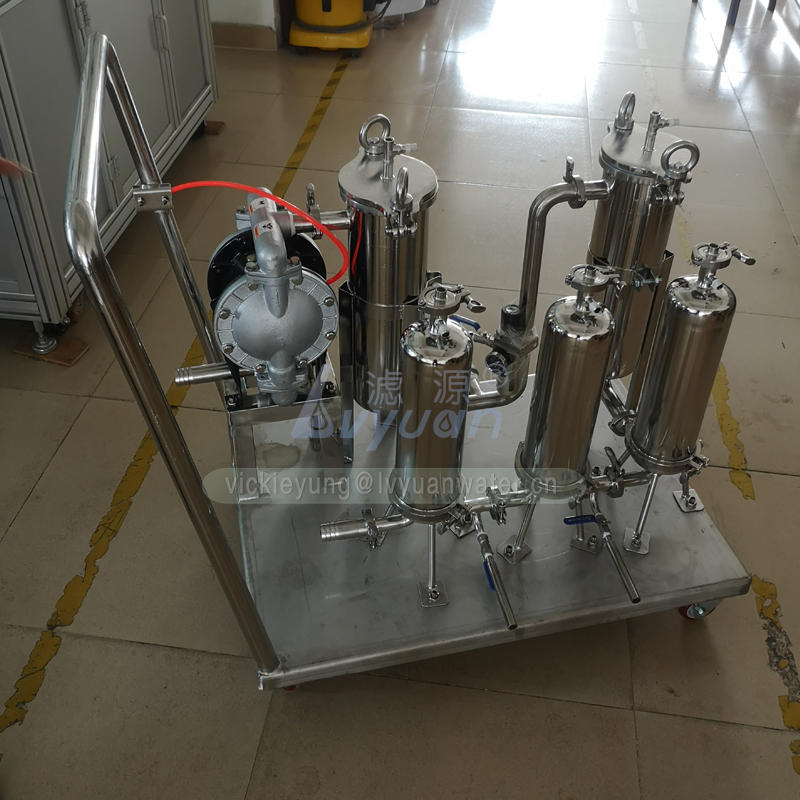 Movable cart single basket stainless steel chemical liquid bag type filter housing for paint oil/beverage/water treatment
