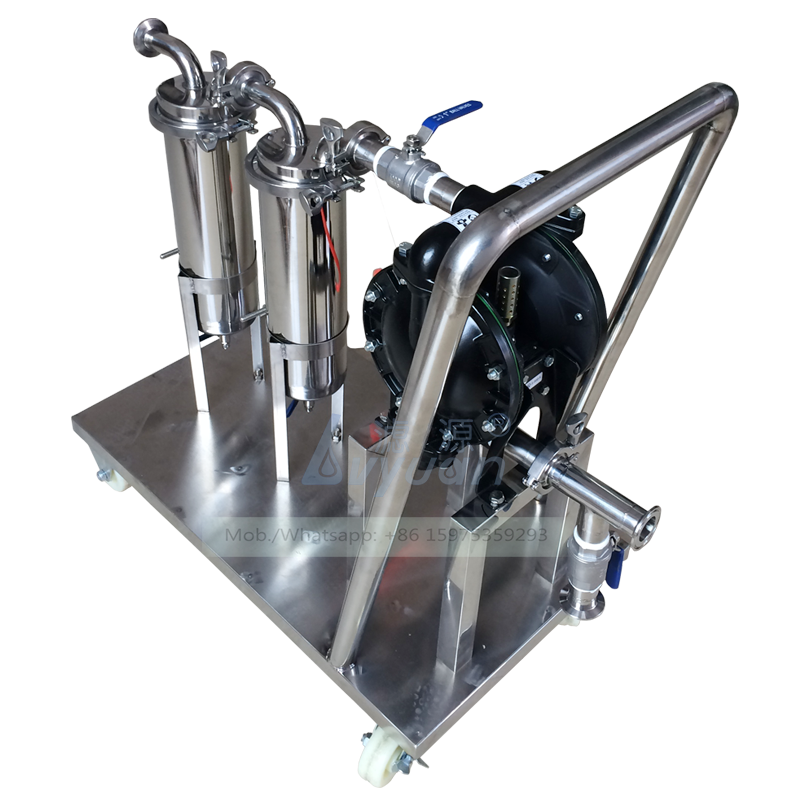 Portable filtering machine SS304 316L stainless steel double stage microporous filter liquor filter machine with 4 wheels cart
