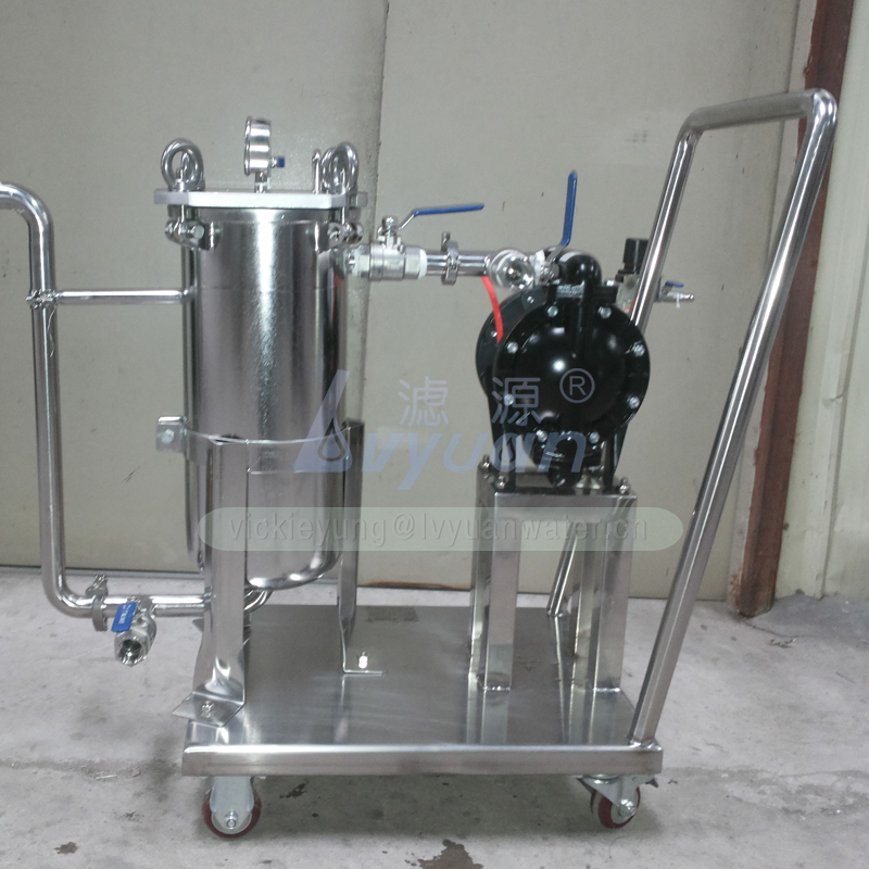 Movable trolley housing multi stage 10 inch oil industrial filtration system with filters type 5 microns water bag housing