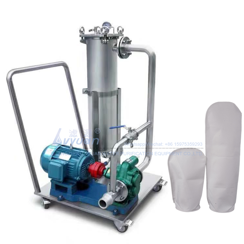 Reusable water purification SS 304 316 material single stainless water filter housing bag filter system with water/air pump