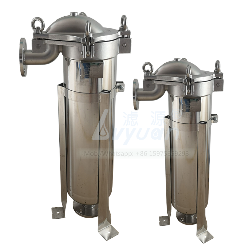 SS 304 316L steel oring 1 micron single bag water filter type stainless filter housing with top in bottom out flange 1 inch