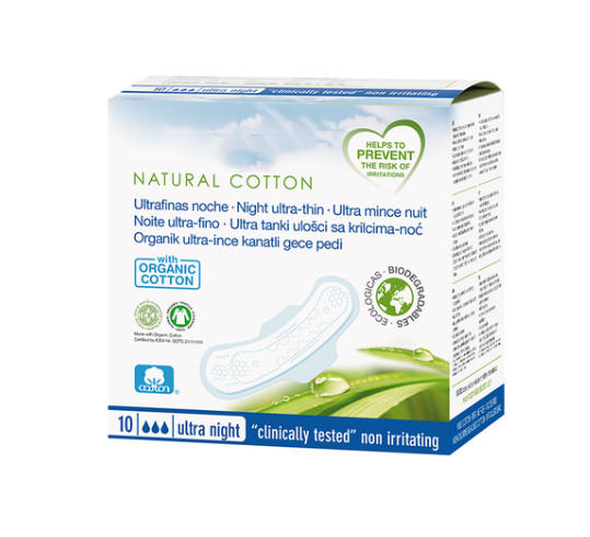 Italy 100% certified organic cotton absorbent core sanitary pads napkin biodegradable PLA sanitary towels in low price