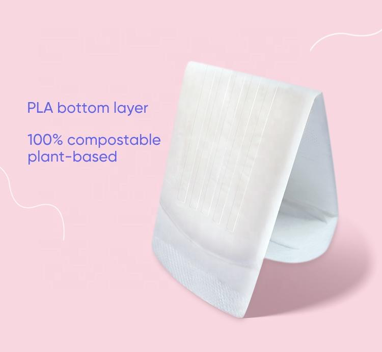 Ultra thin biodegradable organic period pad lady eco compostable toallas sanitarias sanitary pads manufacturing