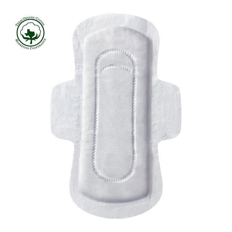 Hypoallergenic compostable organic cotton sanitary pad chlorine-free female bio menstrual pad OEM private label