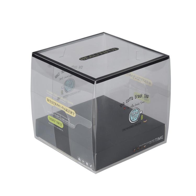 Food Grade Custom Transparent PET Plastic Clear Decorative Wedding Square Cake Box with logo