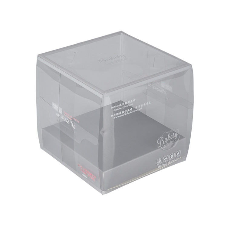 Custom Eco Friendly Clear Plastic Cake Box Packaging with Paper Tray