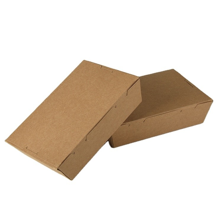 Eco-friendly Disposable Lunch Resistant Grease Brown Kraft Paper Food Packaging Paper Box