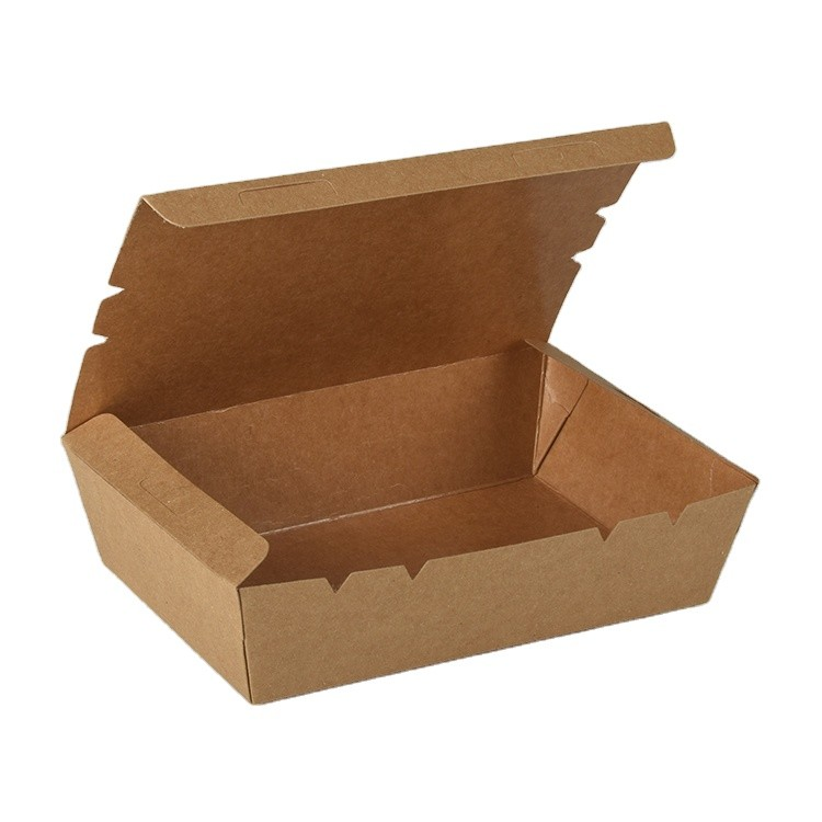 Wholesale Biodegradable Food Container Packaging Salad Box Disposable Kraft Paper Lunch Box