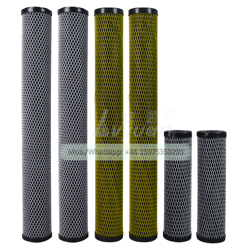 Water pre treatment 10 20 inch block carbon filter 5 microns activated carbon fiber filter for odor/ozone removal