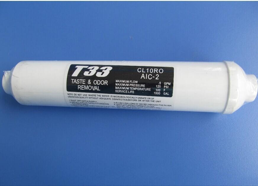 odor removal T33 filter cartridge for RO water filter