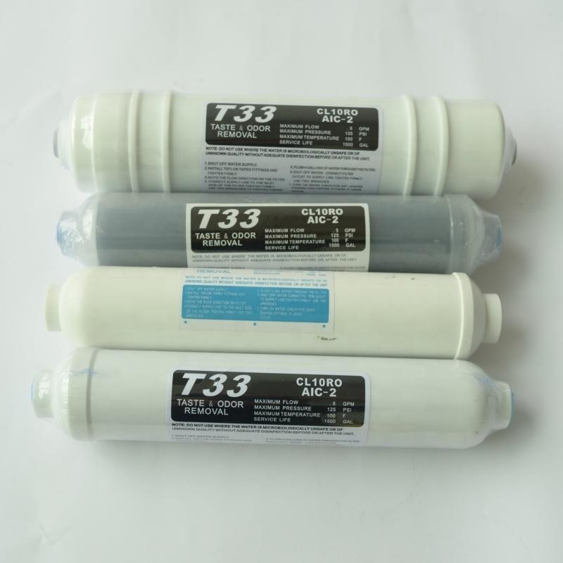 post activated carbon T33 water filter cartridge made in Guangzhou