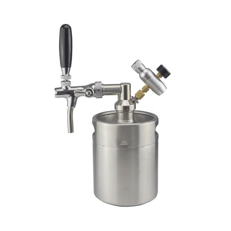 2l 64oz stainless steel beer keg growler co2 tap