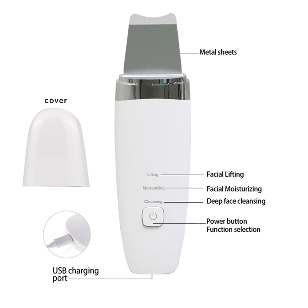 2021 best seller face professional facial machine care equipment led metal ultrasonic skin scrubber
