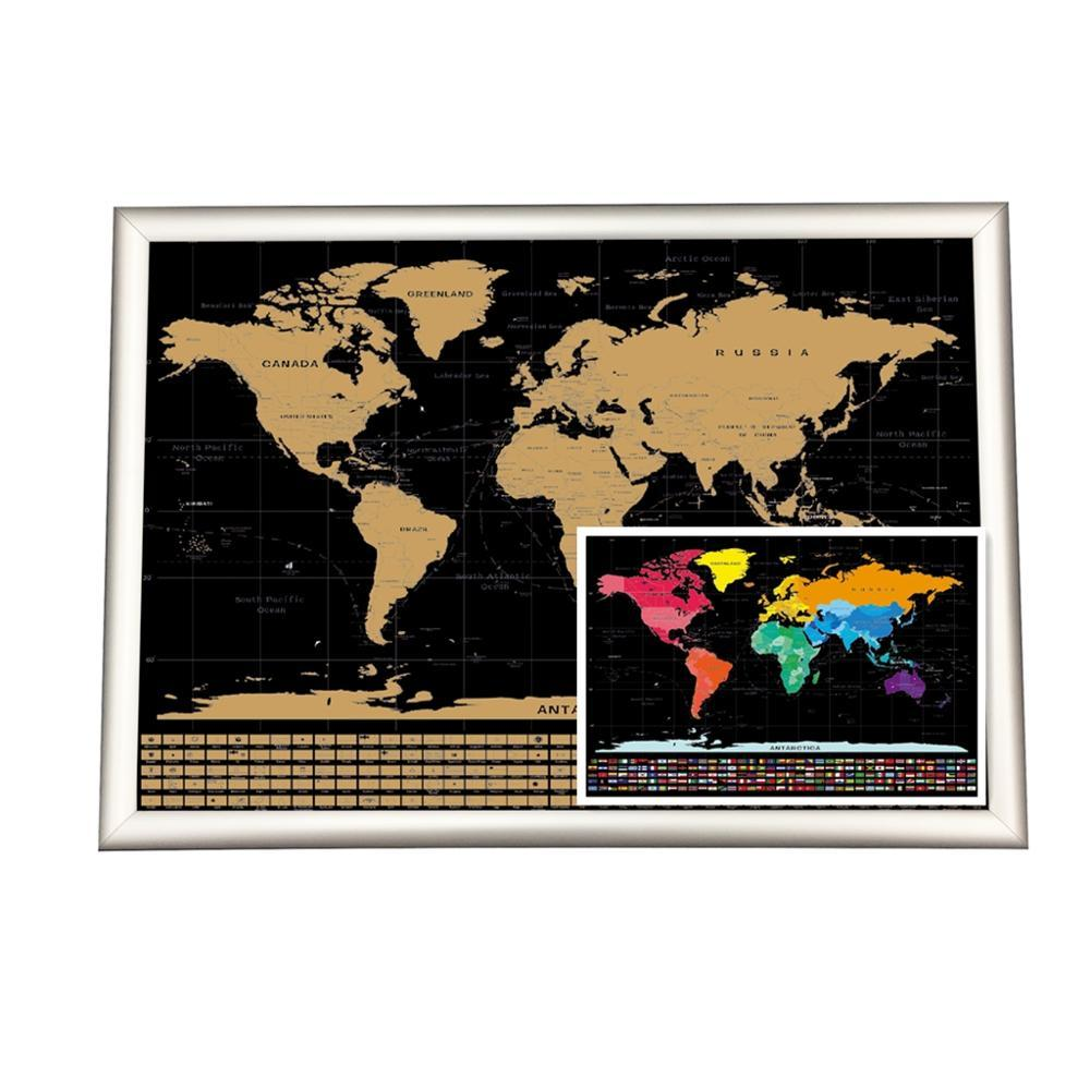 Large Size 56x83.8cm Gold Foil Printing Black Scratch Off Map Poster for Amazon sale