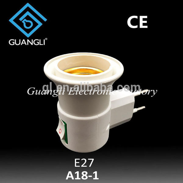 European Plug to E27 Italy egypt type switch electrical plug socket lampholder factory adapter