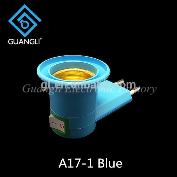 Indonesia E27 round plug plastic switch night lamp base holder A17-1 electrical plug socket