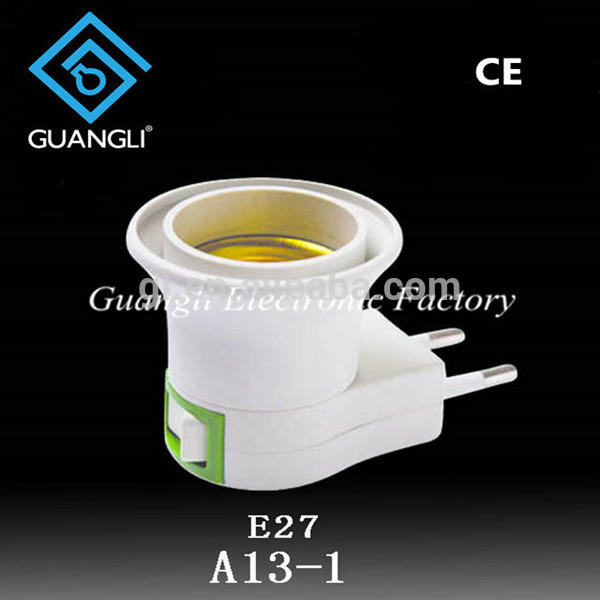 LED E27 to EU plug Adapter socket Converter screw typecorn lamp bulb electrical socket with switch ON/OFF Button Lamp holder