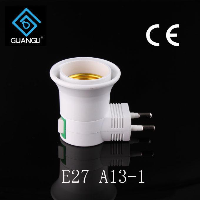 OEM A13-1 CE ROSH approved night light socket European plug in lamp holder for acrylic night light 220V
