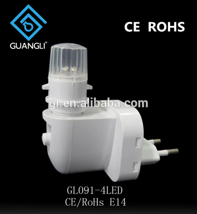 CE ROHS approved E14 switch LED lighting night light socket with European plug in lamp holder and 15W and 220V or 240V