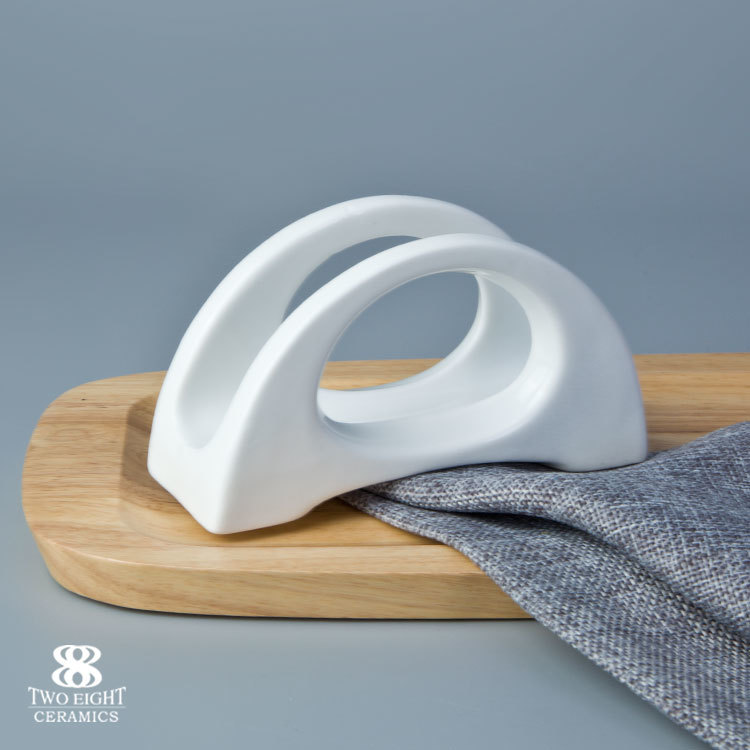White ceramic banquet personalised decorative fine porcelain table facial tissue holder
