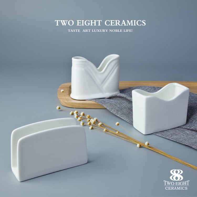 ceramics napkin stand for daily use napkin holder catering porcelain napkin holder