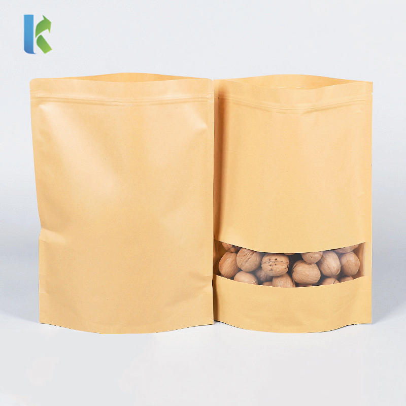 Wholesale Reusable Brown Food Packaging Kraft Paper Zipper Bag With Clear Window