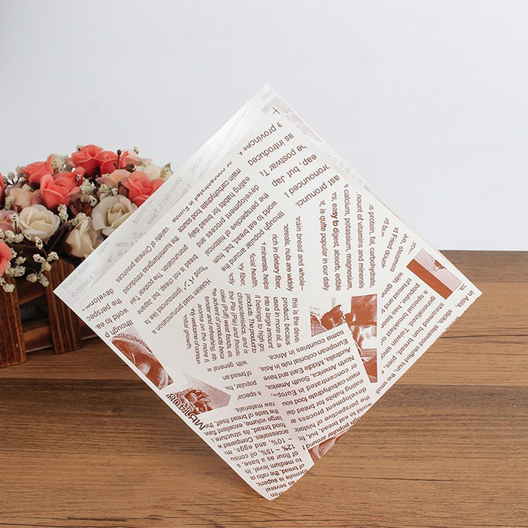 Excellent oil-proof food wrapping paper pocket with logo printing