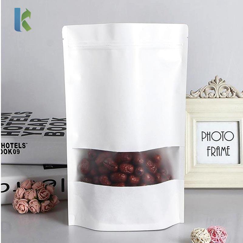 Doypack Mylar Paper White Kraft Bags With Window Food Tea Snack Package Storage Stand Up Packaging Ziplock