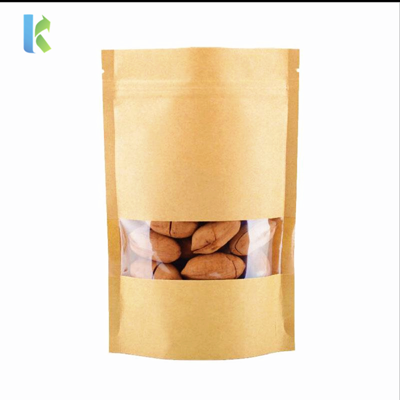 Doypack Kraft Stand Up Paper Zipper Bag with window Reusable Sealing Food Storage Bags for Coffee Beans Nuts Biscuits Packaging
