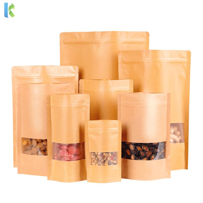 Wholesale Ziplock Packaging Stand Up Bag With Zipper Kraft Paper Bag Packaging