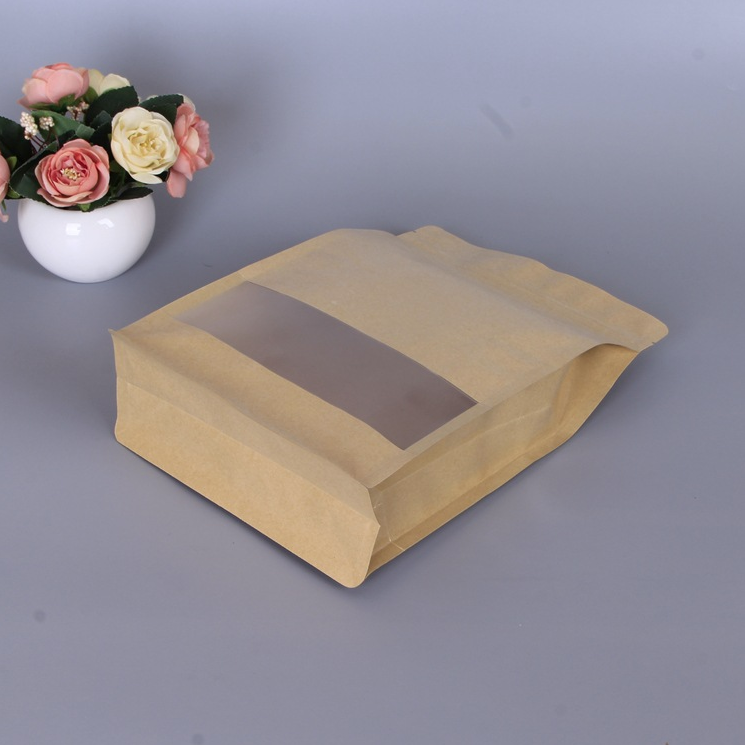 Kraft paper eight side sealed bag with frosted window for food use