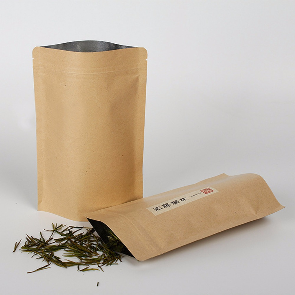 Kraft Paper Standup Ziplock Bags/Pouches for Tea Packing