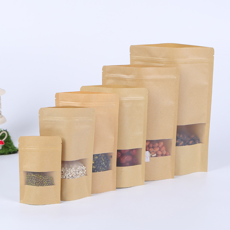 Food industrial use frosted window kraft paper bag with zipper