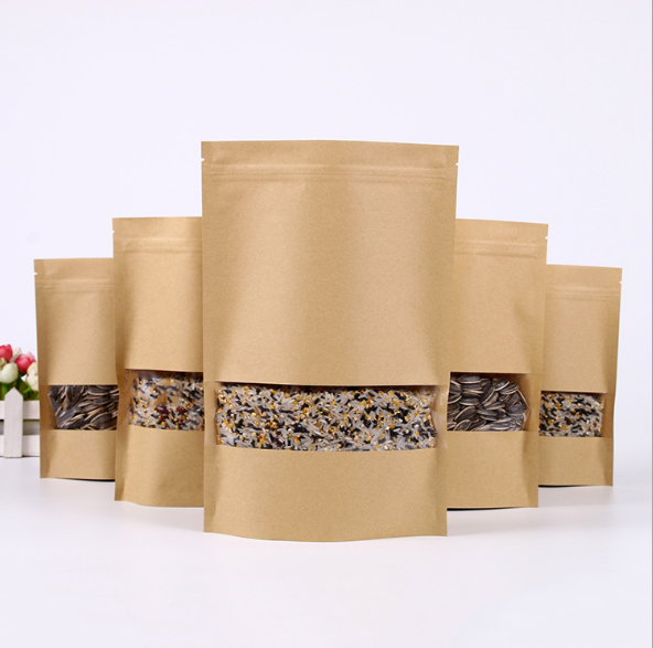 Food grade kraft stand up zipper pouch with window