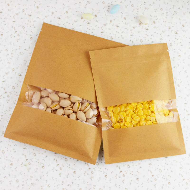 200g, 350g standup kraft paper bag with clear window