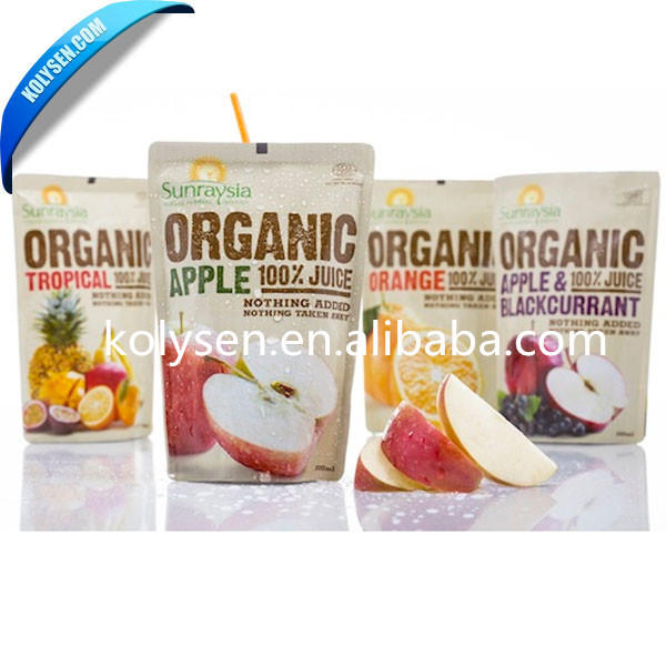 Kolysen custom stand up pouch for juice with straw inside