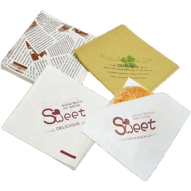 Custom printed food grade Trigon Food Bag bakery doughnut burger wrap Oilproof Paper Bag Export from China