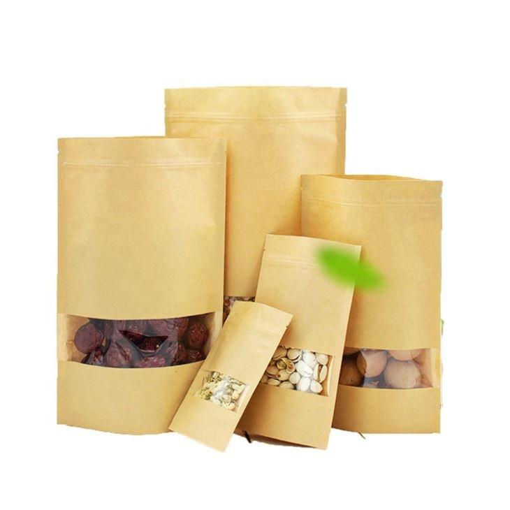 wholesale custom printing Food grade recycled stand up kraft paper bag packing pouch