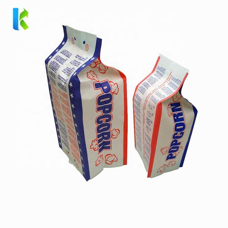 Custom logo printed side gusset food packaging paper popcorn bag